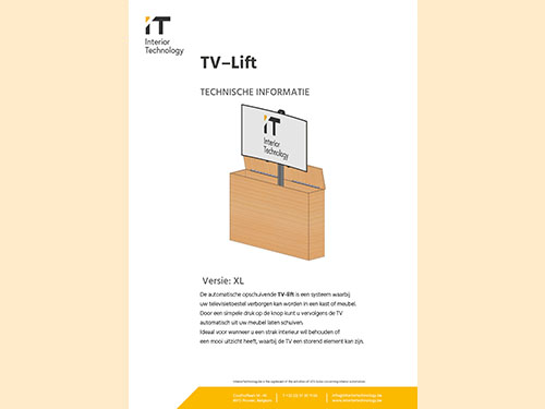 TV lift technical specifications XL NL